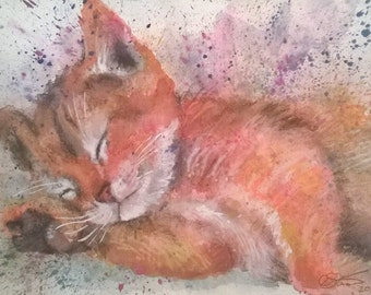 Sleepy, Dreaming Kitten - Original A4 Artwork - Watercolour and mixed-media - Cute!