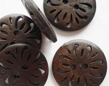 6 pcs Wooden Buttons, Flower, Dark Brown, 25mm, 2 Hole
