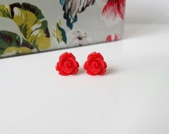 Red rose earrings, red rose studs, small rose studs, small rose earrings, red flower earrings, red studs, red earrings, surgical steel posts