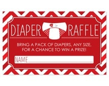 18 Diaper Raffle Tickets in Red Chevron Pattern - Baby Shower Game - Printed Diaper Raffle Cards