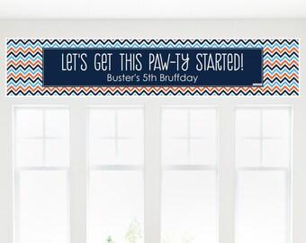 Chevron Boy Bruffday Banner - Custom Dog Party Decorations