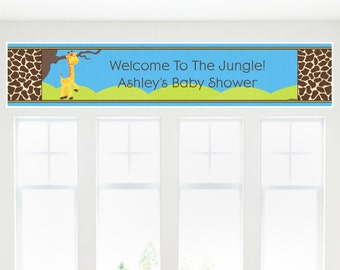 Blue Boy Giraffe Banner - Custom Party Decorations for a Birthday Party or Baby Shower