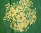 VINTAGE FRENCH FABRIC / Upholstery / Huge piece / Elegant / Classic / Vintage / Shimmering / Floral / Curtain / Green / Yellow