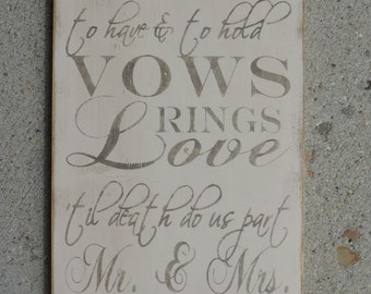 """FREE SHIPPING Country/ Primitive/ Shabby Chic/ Rustic 11"""" x 20"""" Wedding Vows Sign"""