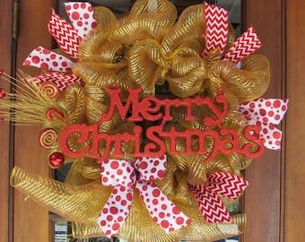 "24"" Merry Christmas Wreath Christmas Deco Mesh Wreath Red Gold Wreath Christmas Wreath Red Polka Dot Wreath Candy Cane Wreath Holiday Wreath"