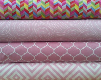 Max and Bunny - Andover-  Modern Prints- Light Pink - 1/2  Yard Fabric Bundle (4 Pieces)