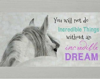 """Incredible Things Incredible Dream White Kids Horse Western Picture Framed Art  13x22"""""""