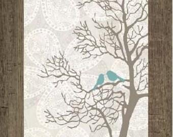 "Love Blue Bird Tree Floral Decor Art Framed Picture 13x22"""