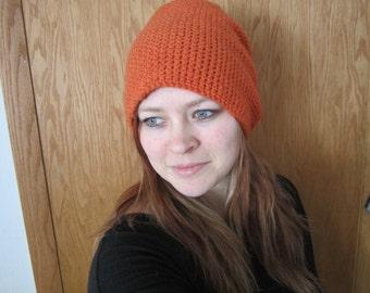 Orange Crocheted Slouchy Beanie