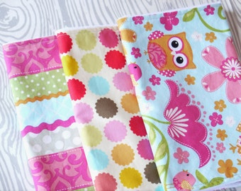 Baby Girl Burp Cloths - Set of 3 - Colorful Chevron and Dots - Owls and Birds