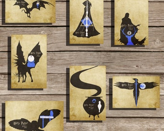 All 7 Harry Potter movie poster art print hogwarts poster movie art fan art
