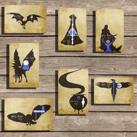 All 7 Harry Potter movie poster art print hogwarts poster