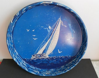 Vintage Serving Tray with Sailboat Miss Manhattan