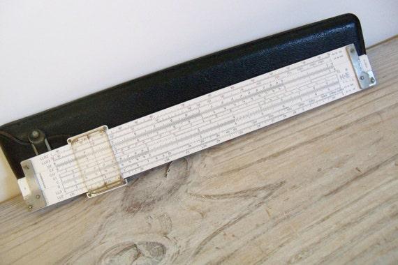 Antique Slide Rule Keuffel Esser Co Architect Drafting Slide Ruler 4181-3 Black Leather Case NY USA 1947