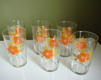 Vintage Federal 10 oz Drinking Glasses w/ Orange Flower and Harvest Gold Leaves 6pc.