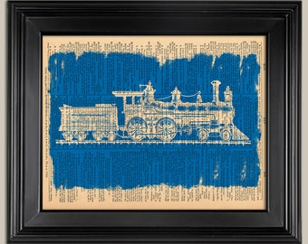 "Train Blueprint Vintage Style print. Vintage book page art print. Print on book page.  Fits 8""x10"" frame."