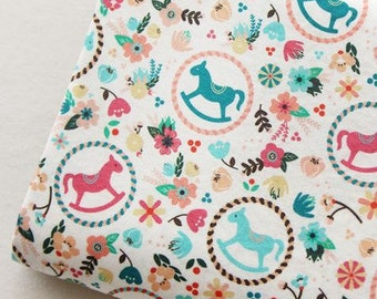 Scandinavian Retro Vintage  Dala Horse Cotton 100% Fabric