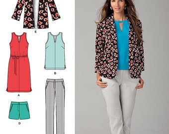 Simplicity Sewing Pattern 1430 Misses' Slim Pants, Shorts, Dress or Top and Jacket