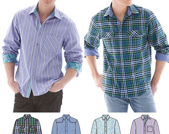 Men's Shirt with Fabric Variations Simplicity Pattern 1544