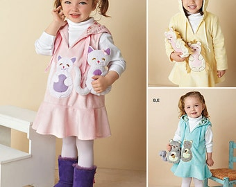 "Toddlers' Fleece Dress or Jumper and 7 1/2"" Stuffed Animals Simplicity Pattern 1288"