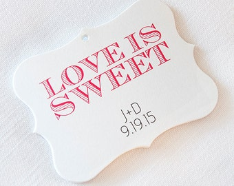 Love is Sweet Tags, Customized Wedding Tags, Love is Sweet Candy Wedding Favor Tags (EC-133)