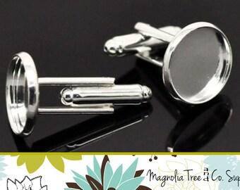 16mm Cufflinks, DIY cuff links, Shiny Silver, Bezel Blank, cufflink findings, bezel settings, recessed cufflinks, makes 5 pairs (WS9-SP5)