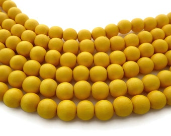 Dark Yellow Wooden Bead - Yellow Beads - 16 in. Strand - 12 mm - Wooden Bead - Round Wood Bead - Yellow Bead - Round Yellow Bead