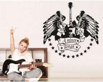 Minor Songs music wall decal, sticker, mural, vinyl wall art