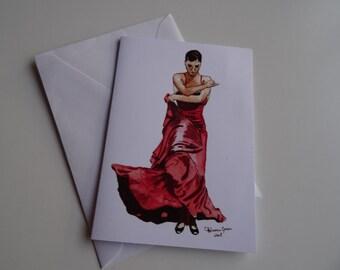 Bulerias 1 - A6 greeting card of flamenco dancer in red