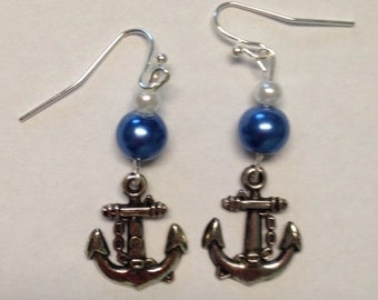 Homemade Dangle Earrings with Anchor Charms