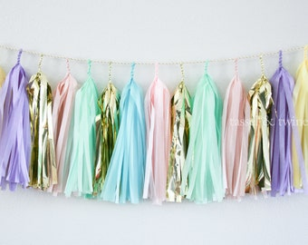 SWEET PASTELS tissue tassel garland party decoration