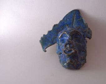 Handmade Stoneware Mask in Indigo Float