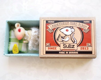 White mouse in a matchbox. Pocket friend. BJD. Made to order