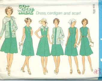 VINTAGE - Simplicity Pattern 7360 Unlined Cardigan, Dress and Scarf in Half Sizes