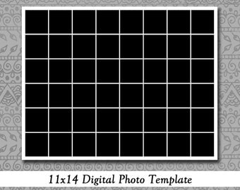 11x14 Photo Template, Holds 48 Photos, Instagram, Storyboard, Photography Template, Photoshop, Elements, Instant Download, Scrapboooks