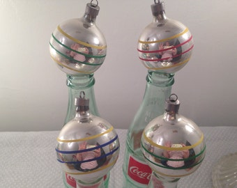 Vintage Striped Mercury Glass Ornaments