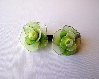 Pair of Mint Green Rose Hair Clips