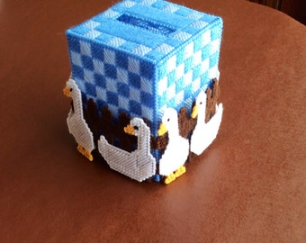 Tissue box cover with geese