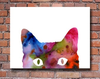 Cat Art Print - Abstract Watercolor Painting - Wall Decor