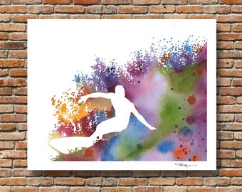 Surfer Art Print - Abstract Watercolor Painting - Surfing Art Wall Decor