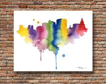 Newark Skyline - Abstract Watercolor - New Jersey Art Print - Wall Decor