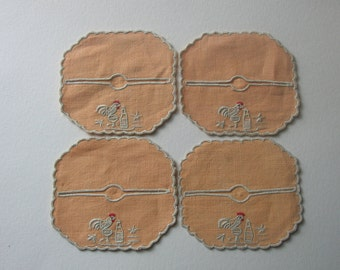 Set of Four Stemware Coasters with Embroidered Rooster