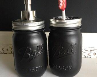 Black Ball Mason Jar Soap Dispenser or Toothbrush Holder