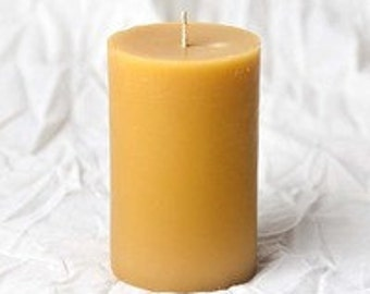"Beautiful beeswax 3"" x 5"" pillar hand poured from pure Colorado beeswax candle."