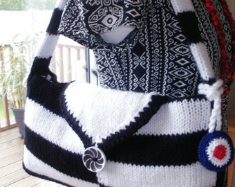 Handknitted MOD BAG in black and white, fully lined and with detachable crocheted mod target bag charm.
