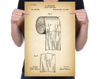 "Vintage 1891 ""Toilet Paper Roll"" Patent Drawing, Retro Art Print Poster, Canvas, Wall Art, Home Decor, Unusual Art Subject, Gift Idea"