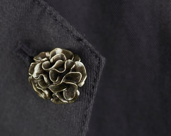 Brass Oxidized Carnation Boutonniere