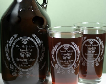 Personalized Home Brew Wedding set with Growler and 2 Pint Glasses with Modern Hop and Wheat deisgn. Homebrew, personalized, wedding gift