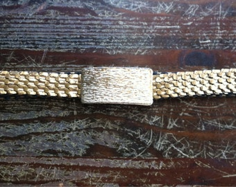 Vintage stretch disco gold metal belt with elastic