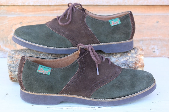 Bass Suede Saddle Shoes Vintage Hunter Green And Chocolate